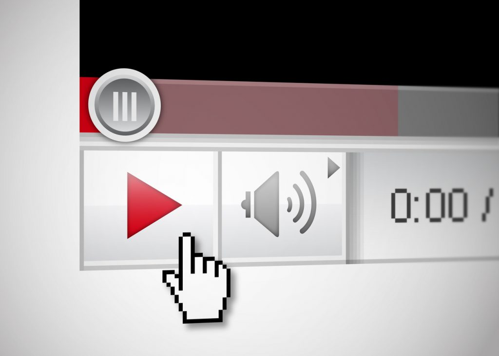 A close-up image of a video player playing a video from a certain brand.