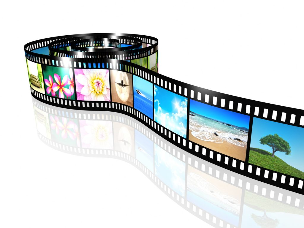 An image of a film strip representing video footage.