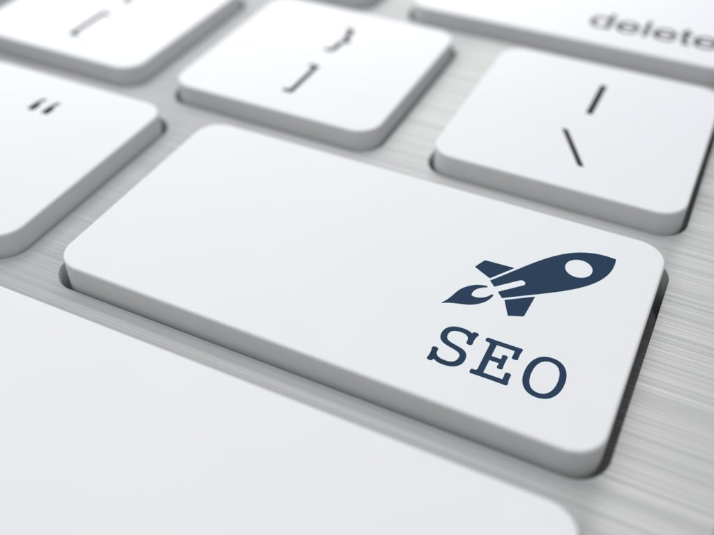 "A button with the image of a rocket and ""SEO,"" as if to say that adding closed captions and transcripts can rocket boost your video SEO strategy."