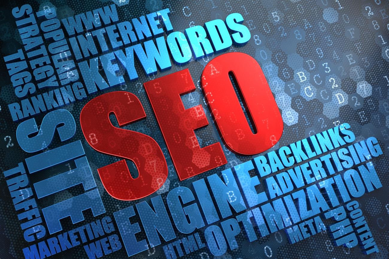 A graphic image of the word SEO in red letters, surrounded by a word cloud.