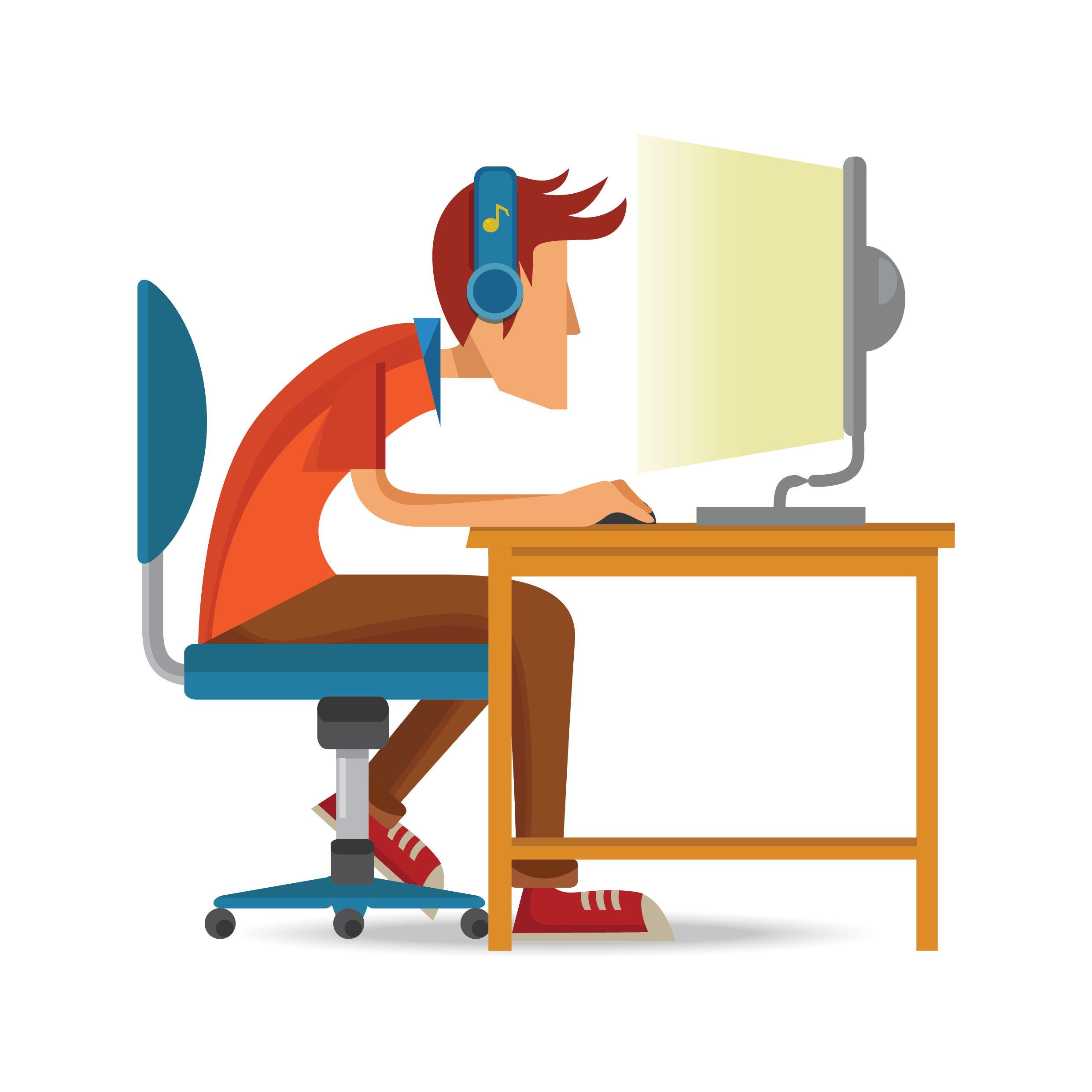 A graphic image of a man sitting at his computer watching a video, like many online viewers.