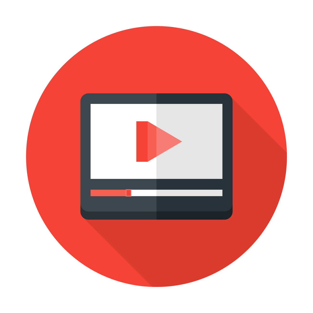 Media play flat circle icon representing video content.