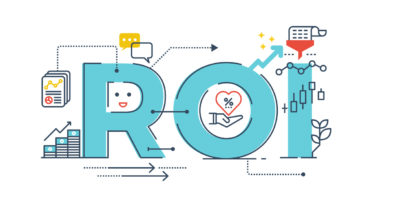 The word ROI with representative graphics around it, to signify video marketing ROI.