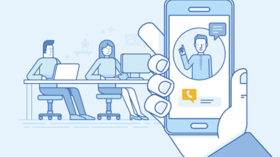 Vector graphic showing a man using video to communicate with remote colleagues: remote team building.